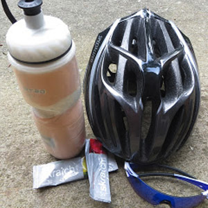 Sports drink, helmet, glasses